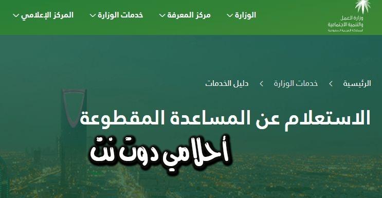 خدمة الاستعلام عن المساعده المقطوعة برقم الايبان عبر وكالة الضمان السعودي
