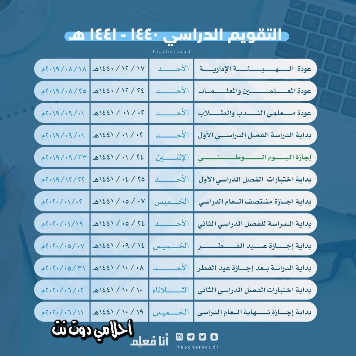 موعد دوام المعلمين والمعلمات في مدارس السعودية 1440 - 1441 / 2019