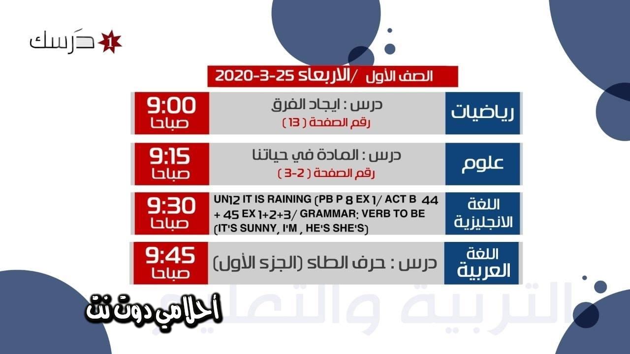 جدول حصص الصف الاول على قناة درسك 1 اليوم الاربعاء 25/3/2020