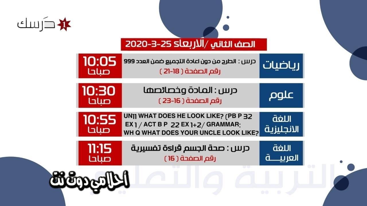 جدول حصص الصف الثاني على قناة درسك 1 اليوم الاربعاء 25/3/2020