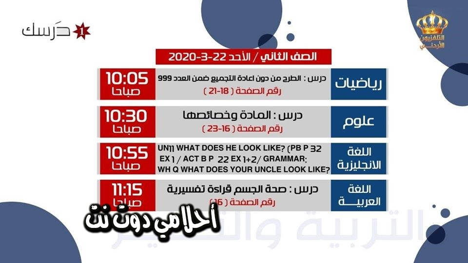 جدول حصص الصف الثاني على قناة درسك 1 اليوم الأحد 22/3/2020