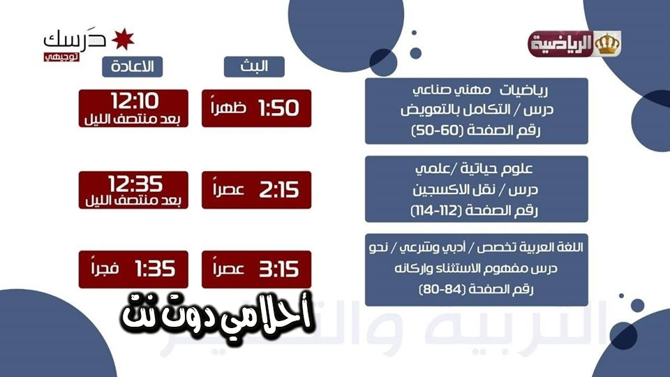 جدول حصص صف الثاني ثانوي ( التوجيهي ) على قناة الأردن الرياضية 22/3/2020 ليوم الأحد
