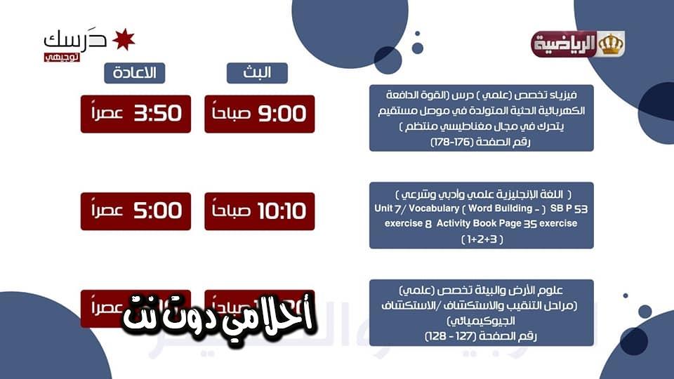 برنامج حصص قناة الاردن الرياضية الثانية لطلاب التوجيهي اليوم الجمعة 3/4/2020