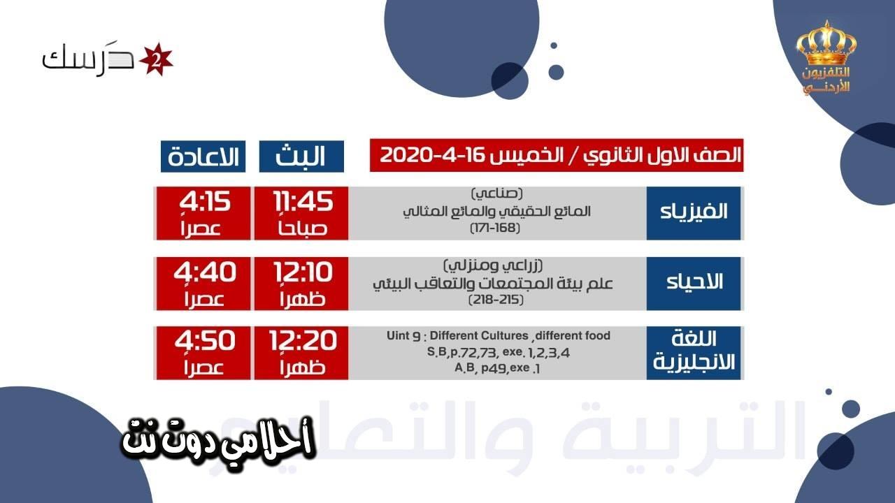 جدول حصص قناة درسك 2 للصف الاول ثانوي اليوم الخميس 16/4/2020