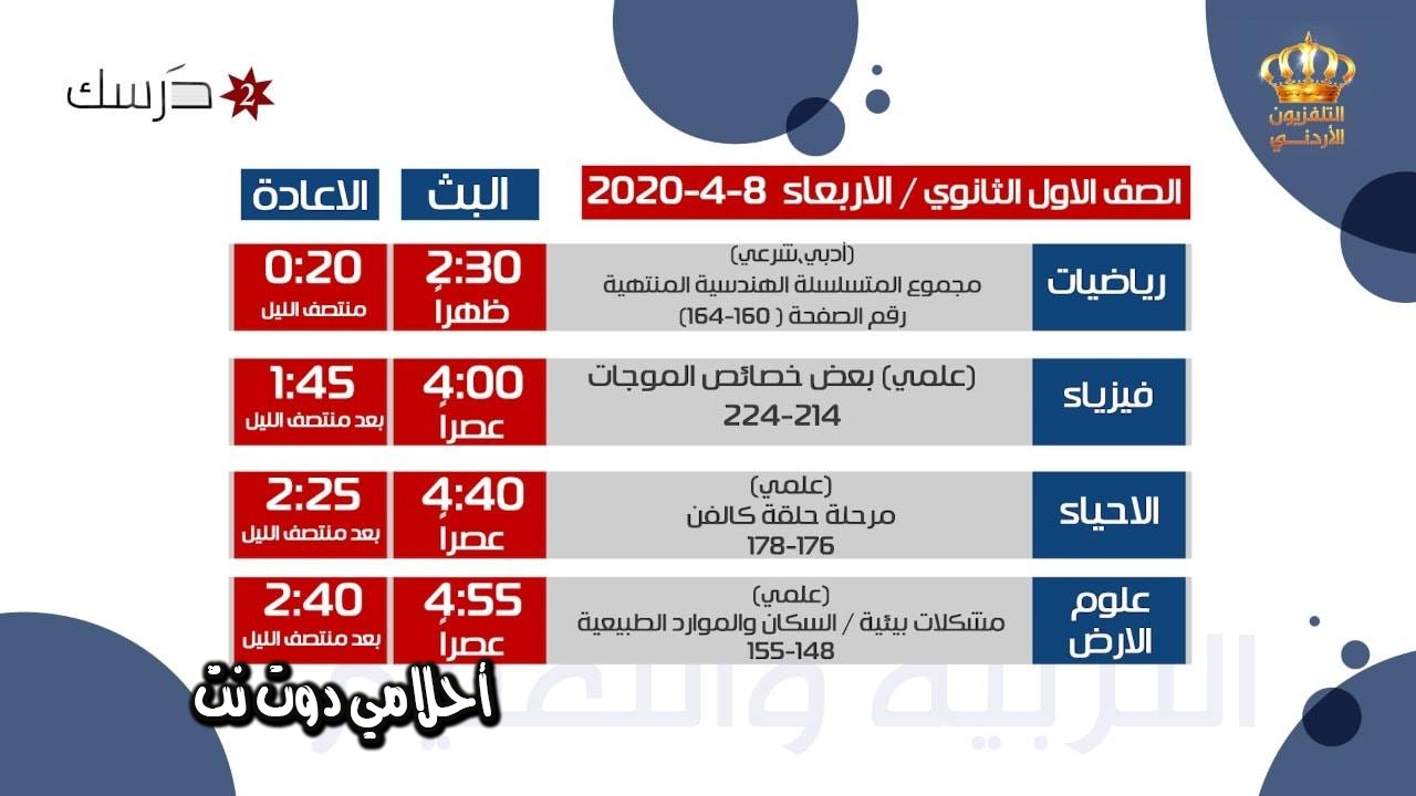 جدول حصص قناة درسك 2 للصف الاول ثانوي اليوم الاربعاء 8/4/2020