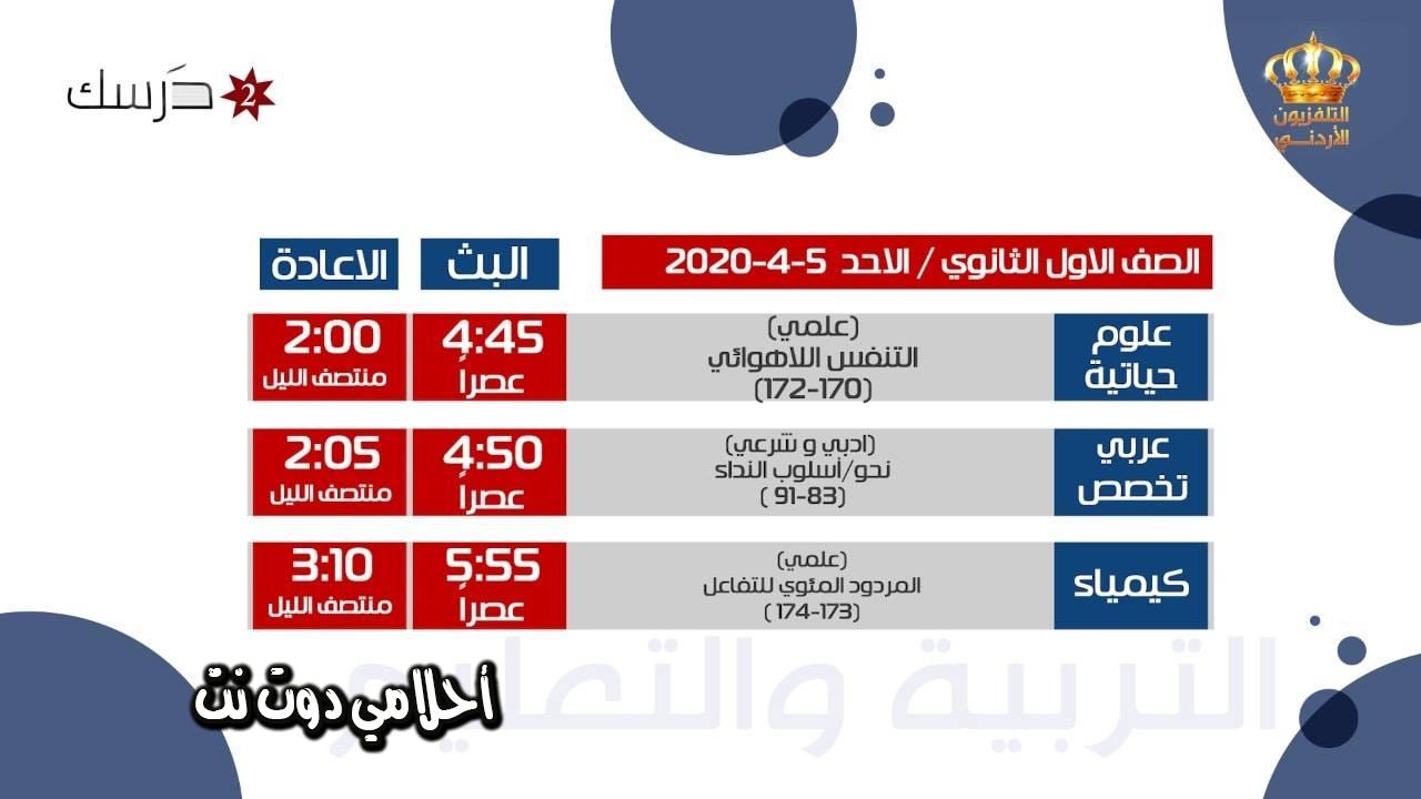 جدول حصص قناة درسك الثانية للصف الاول ثانوي الابتدائي اليوم الاحد 5/4/2020