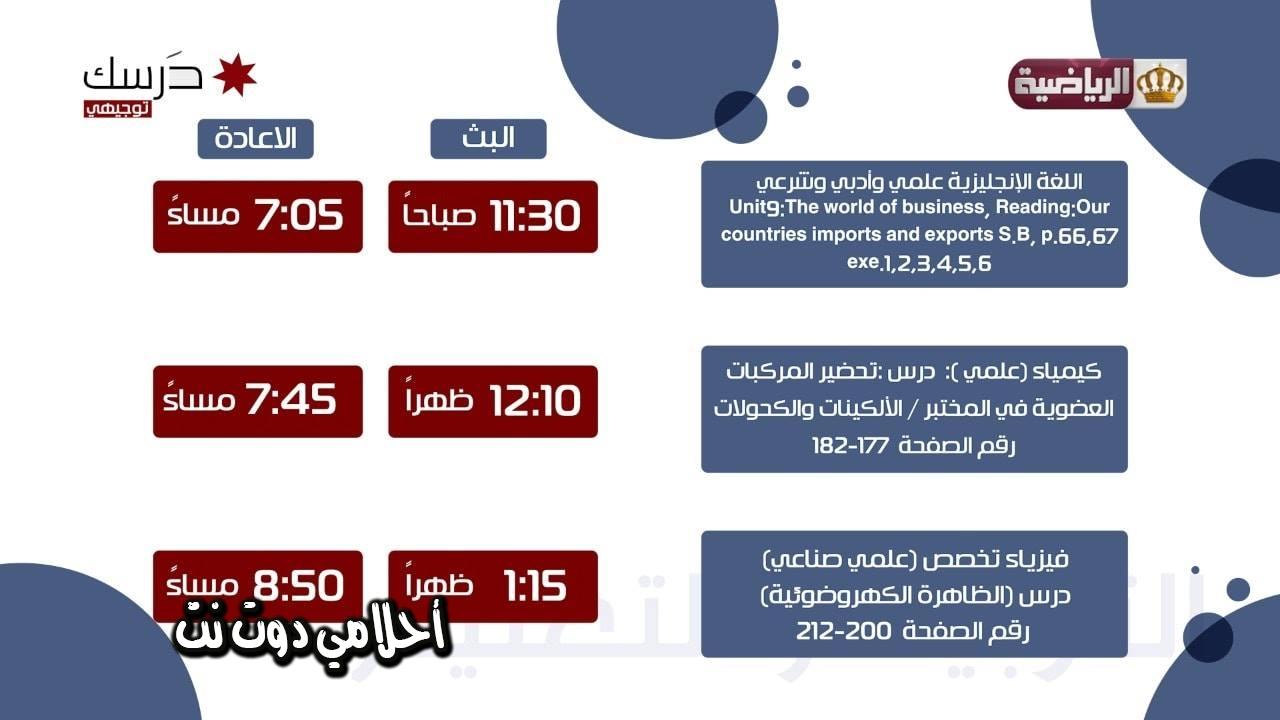 برنامج حصص قناة الاردن الرياضية لطلاب التوجيهي (الثانوية العامة) ليوم الثلاثاء 7/4/2020